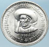 1960 PORTUGAL Prince Henry the Navigator Genuine Silver 10 Escudos Coin i82390