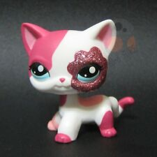Littlest Pet Shop #2291 - White & Pink Glitter Shorthair Siamese Kitty Cat RARE