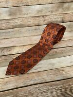 Robert Talbott Estate Orange Black Geometric 100% Silk Necktie Tie Made in USA