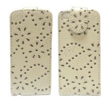 For Apple iPhone 5C Bling Diamante Glitter Flip White Pu Leather Cover Case