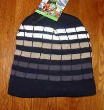 Blue White Checked Striped Beanie Knit Cap Winter Hat