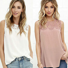 Womens Tank Tops Lace Crochet Chiffon Ladies Vest T-Shirt Summer Singlet Blouse