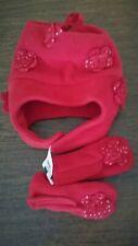 NEW Gap Girls Winter Hat Mittens Red, Toddler Fleece 12-24 Months
