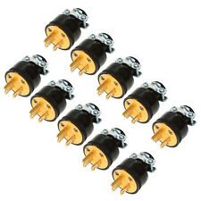 10pc Male Extension Cord Replacement Electrical End Plugs 15AMP Romex Cabling