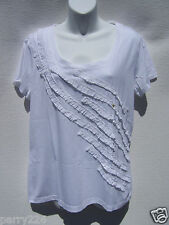 G.H. Bass & Company Women's White Short Sleeve T-Shirt Ruffle Detail Size M NWT