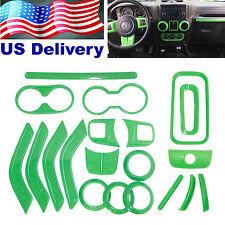20pcs Green Interior Decoration Cover Trim For 2011-2015 Jeep Wrangler 4 Door