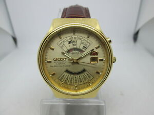 VINTAGE ORIENT NEW MULTI YEAR CALENDAR GOLDPLATED AUTOMATIC MENS WATCH