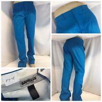Express Photographer Pants 32x34 Teal Blue Cotton Lycra Flat NWOT YGI F9-48
