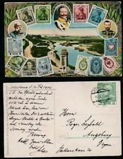 AUSTRIA 1914 PPC TRI NATION RUSSIA GERMANY STAMP CARD 5c to AUGSBURG