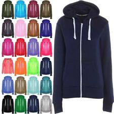 Womens Ladies Long Sleeve Zip Up Plain Hooded Jacket Hoodie 2 Pocket Sweatshirt