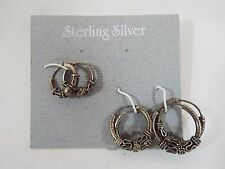 "Set of 3 Sterling Silver Bali Style Hoop Earrings Hinged With Notch1/2"" to 3/4"""