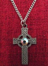 Celtic Cross Pendant Crystal Clear Ireland Stainless Steel Chain Pewter Necklace