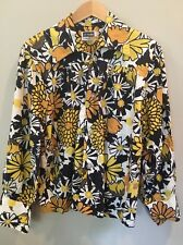 Yellow Flower Power Shirt Mod L 70's Wide Collar At Ease By Weldon Livingwear