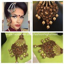 Indio Paquistaní Bridal Gold & Pearl Matha Patti, jhumar, Cabeza Joyas, pasa