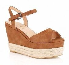Ravel Easton Ladies UK 4 & 5 Tan Brown Faux Leather Platform Wedge Sandals Shoes