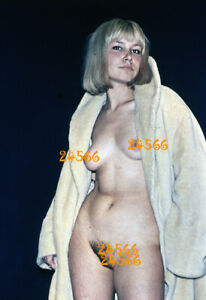 semi nude blonde girl in white fur, vintage fine art  slide!  1970'