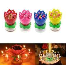 Joyful Magic Lotus Flower Birthday Party Spin Music Candle with 14 Small Candles