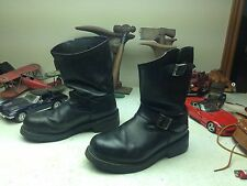 HERMAN SURVIVORS STEEL TOE MADE IN USA VINTAGE BLACK LEATHER ENGINEER BOOTS 8D/E