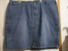 "VENEZIA BLUE DENIM JEAN SKIRT  COTTON STRETCH FRONT ZIP SIZE 24   46"" WAIST"