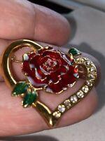 Vintage Gold Tone Enamel Rhinestone Heart Flower Brooch Pin Estate Sale