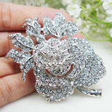 Brooch Pin Clear Rhinestone Crystal Bride Wedding Charming Rose Flower Woman