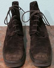 Vintage JOAN & DAVID Brown Suede Lace-Up Ankle Boot - Size 10- Made in Italy