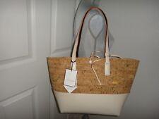 TABITHA WEBB 2-PC SET Women's LG Cork Tote Bag Purse + Removable Beige Organizer