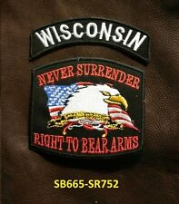 Wisconsin And Never Surrender Pequeño Parches Set para Motero Chaleco