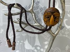 Vintage Korean Carved Face Hahoetal Mask Bolo Tie Artist Bolo Ethnic Jewelry