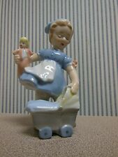 Blue Danube China Figurine Girl With Baby Doll and Buggy