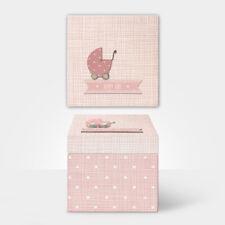 East of India Pink Baby Girl Wood Memory Keepsake Trinket Box 14x14x13.5cm