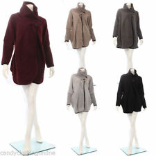 Wool Patternless Casual Plus Size Coats & Jackets for Women