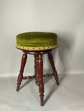 Antique French Solid Walnut Wooden Bar Stool With Velvet.
