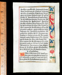 FRENCH ILLUMINATED  BOOK OF HOURS  LEAF, ON VELLUM -  PARIS c 1532