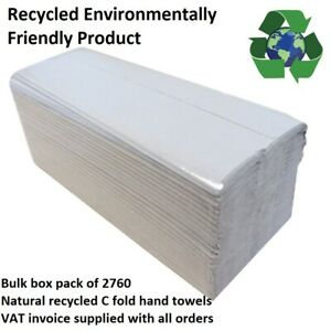 Recycled Natural Paper Hand Towels C fold Box 2760 Premium Quality Single Ply