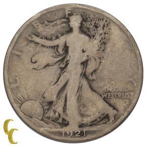 1921-D Silver Walking Liberty Half Dollar 50C (Good, G Condition)