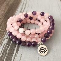 Mala Bracelet 108 Beads Buddhist Prayer Necklace Natural Rose Quartz Amethyst