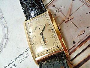 Oversized SOLID 14k Gold Vintage 1938 Men's Lord Elgin 21 Jewel Tank Watch Runs