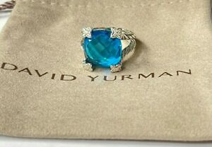 David Yurman 925 Silver Cushion On Point 15mm Blue Topaz Diamond Ring 8
