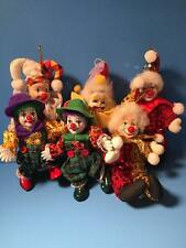 6 Christmas or Halloween Clown Ornaments Cloth With Ceramic Head 5 Are Poseable