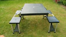 Green Folding Camping Table Picnic Table Set with 4 Stools