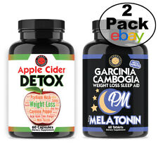 Weight Loss Apple Cider Detox + Garcinia Cambogia PM, 2-Pack Angry Supplements