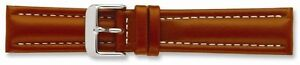"19mm 7.5"" Saddle Oil Tanned Leather Silver-tone Buckle Watch Band"
