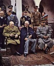 COLOR WW2  Photo, Churchill Roosevelt Stalin Yalta Conference 1945 World War Two