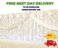 White Ice Silk BACKDROP Wedding Drape Stage + LED Fairy Lights + Detachable SWAG