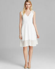 Rachel Roy Collection White Crepe Eyelet Fit-and-Flare Elegant Dress .NWT Sz.8