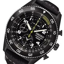 Mens SEIKO SPORTS ION BLACK CASE CHRONO WITH BLACK LEATHER BUCKLE STRAP SNDG61