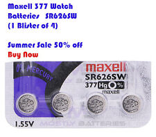 4 pcs MAXELL 377 WATCH BATTERIES SR626SW