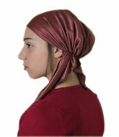 Pre Tied Head Covering Jewish Tichel Hair Chemo Snoods Fitted Bandana Brown Gift