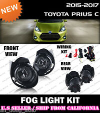 15 16 17 TOYOTA PRIUS C / AQUA NHP10 Fog Light Lamp Kit w/Switch Wiring (CLEAR)